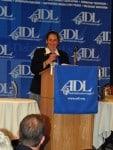 Rabbi Bronstein receives her award.