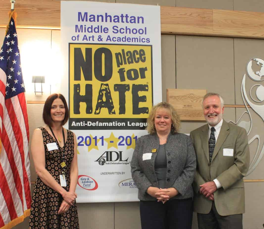 Mary Ellen Steele, Robyn Fernandez, Principal, Dr. Bruce Messinger, BVSD Superindent with No Place For Hate Banner at Manhattan Middle School, BVSD.