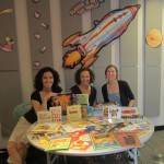Wendy Aronson, Lisa Webber and LPL Children's Librarian Adrienne Gass with the PJ Library donation