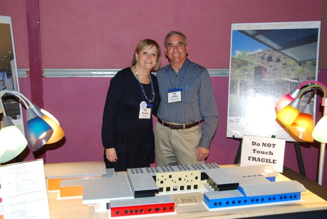 Susan Rona, Capital Campaign co-chair and Erik Bernstein with the Lego scale model of the new Boulder JCC Building.