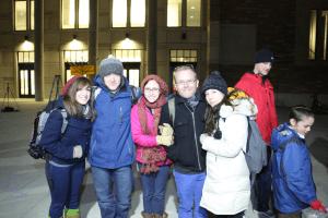Michael Leeds lights the Menorah on CU's campus.
