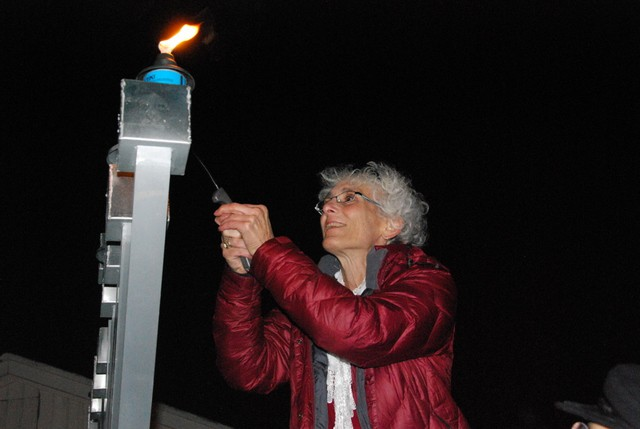 Lafayette Mayor Carolyn Cutler lights the 2012 menorah.