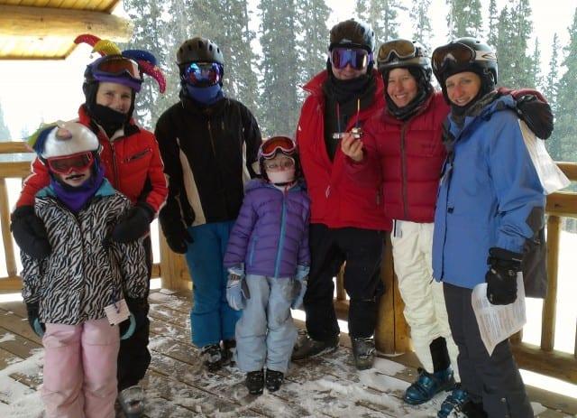 Jewish skiers attending the Adventure Rabbi menorah lighting at Copper Mountain.