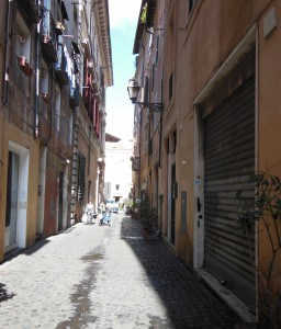 Narrow street in Rome ghetto