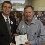 "Radio Chavura host Maxwell Rotbart presents the ""Pillars of the Colorado Jewish Community"" award to U.S. Congressman Doug Lamborn"