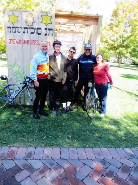 Enjoying another sukkah during the 2012 Sukkah Bike Hop!