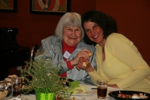 A mother and daughter enjoying the Seder.