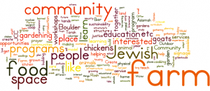 Word Cloud generated from community conversations envisioning a community farm