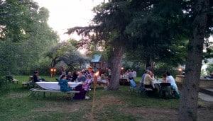Bonai Shalom's welcome home potluck Oneg Shabbat dinner in their restored backyard.