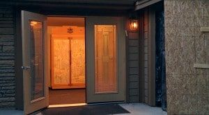 Bonai Shalom's new double main doors welcomed the congregation home Friday night.
