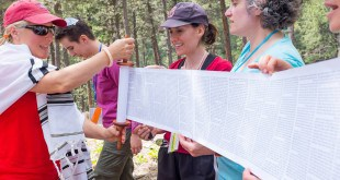 Adventure Rabbi Jamie Korngold unscrolling Torah on a Shabbat Hike