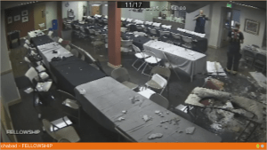 The aftermath in the social hall.