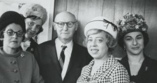 Isaac Bashevis Singer with his women translators. Credit HRC