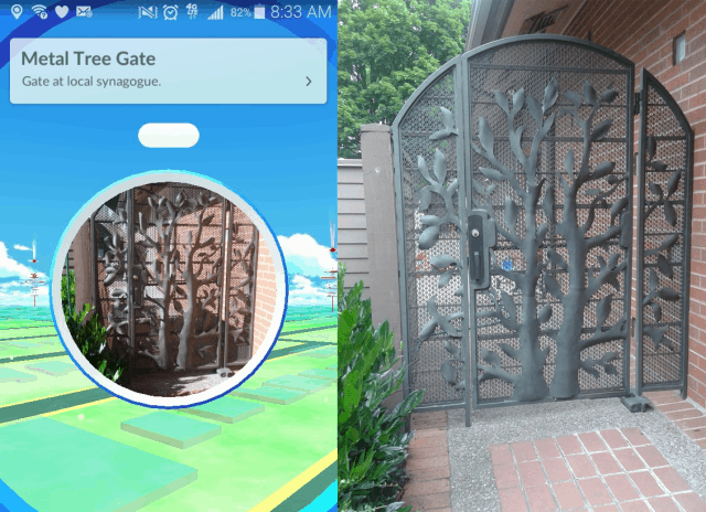 The Pokestop at the synagogue in Seattle where I work. Curiously, doesn't include our name.