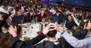 Teens celebrate largest Shabbat dinner ever at BBYO International Convention, 2016. Photo by Jason Dixson Photography. www.jasondixson.com