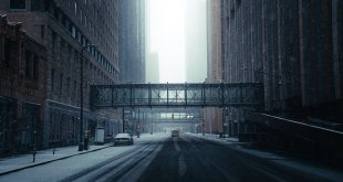 empty road between high rise buildings